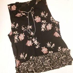 Lucky Brand black and pink floral tank